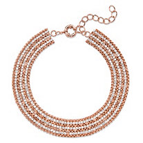 "White Crystal Collar Multi-Row Necklace in Rose Gold-Plated with Lobster Clasp 11""-14"""