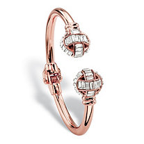 Baguette-Cut Crystal Hinged Cuff Bangle Bracelet in Rose Gold Tone 8""