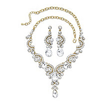 "Crystal Necklace and Drop Earrings 2-Piece Pear Drop and Round Scrolled Gold Tone Set 17""-19"""