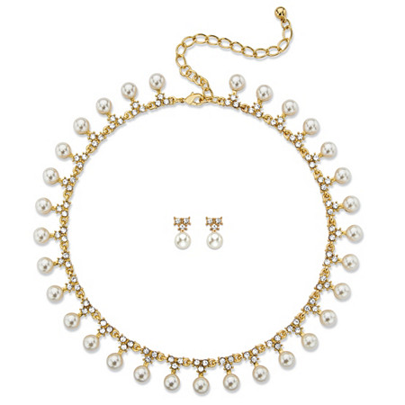 "Simulated Pearl and Crystal 2-Piece Necklace and Stud Earrings Gold Tone Set 15""-19"" at PalmBeach Jewelry"