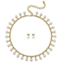 "Simulated Pearl and Crystal 2-Piece Necklace and Stud Earrings Gold Tone Set 15""-19"""