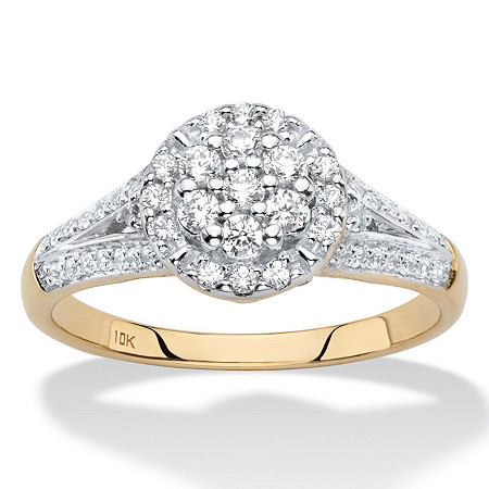 Round Diamond Halo Split-Shank Engagement Ring in Solid 10k Yellow Gold 1/2 TCW at PalmBeach Jewelry