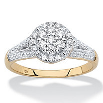 Round Diamond Halo Split-Shank Engagement Ring in Solid 10k Yellow Gold 1/2 TCW