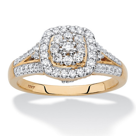 Diamond Halo Cushion-Shaped Engagement Ring 1/2 TCW in Solid 10k Yellow Gold at PalmBeach Jewelry