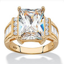 Emerald-Cut Cubic Zirconia Engagement Ring 13.22 TCW in 14k Yellow Gold over Sterling Silver