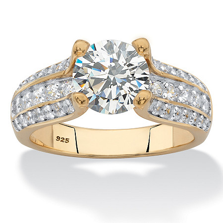 Round Multi-Row Cubic Zirconia Engagement Ring 2.69 TCW in 14k Yellow Gold over Sterling Silver at PalmBeach Jewelry