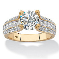 Round Multi-Row Cubic Zirconia Engagement Ring 2.69 TCW in 14k Yellow Gold over Sterling Silver