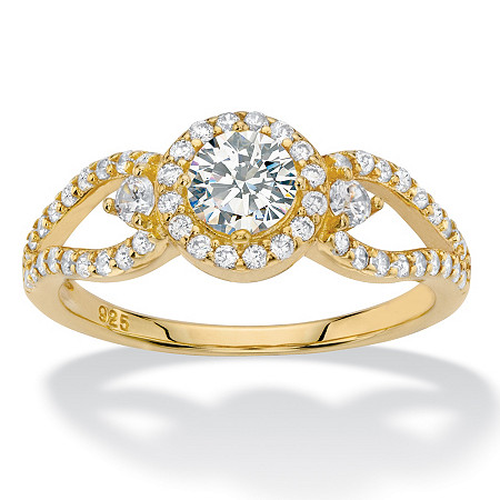 Round Halo Cubic Zirconia Engagement Ring 1.04 TCW Openwork Accents in 14k Gold over Sterling Silver at PalmBeach Jewelry