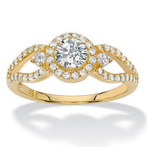 Round Halo Cubic Zirconia Engagement Ring 1.04 TCW Openwork Accents in 14k Gold over Sterling Silver