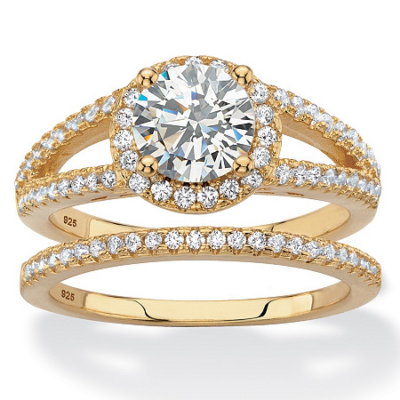 Round Halo Cubic Zirconia 2-Piece Wedding Ring Set 2.16 TCW in 14k Gold over Sterling Silver at PalmBeach Jewelry