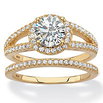 Round Halo Cubic Zirconia 2-Piece Wedding Ring Set 2.16 TCW in 14k Gold over Sterling Silver