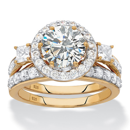 Round Halo Cubic Zirconia 2-Piece Wedding Ring Set 3.13 TCW in 18k Gold over Sterling Silver at PalmBeach Jewelry