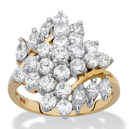 Round and Marquise-Cut Cubic Zirconia Cluster Ring 2.14 TCW in 18k Yellow Gold over Sterling Silver at PalmBeach Jewelry