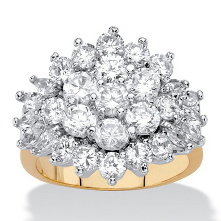 Round and Marquise-Cut Cubic Zirconia Cluster Ring 4.25 TCW 18k Yellow Gold-Plated at PalmBeach Jewelry