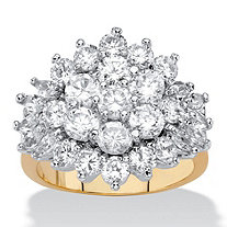 Round and Marquise-Cut Cubic Zirconia Cluster Ring 4.25 TCW 18k Yellow Gold-Plated