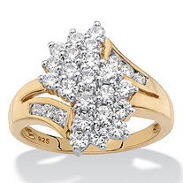 Round Cubic Zirconia Bypass Cluster Ring 1.25 TCW in 18k Yellow Gold over Sterling Silver