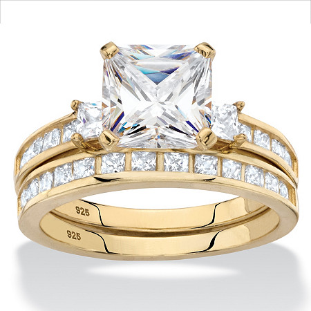 Princess-Cut Halo Cubic Zirconia 2-Piece Wedding Ring Set 2.89 TCW in 14k Gold over Sterling Silver at PalmBeach Jewelry