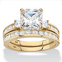 Princess-Cut Halo Cubic Zirconia 2-Piece Wedding Ring Set 2.89 TCW in 14k Gold over Sterling Silver