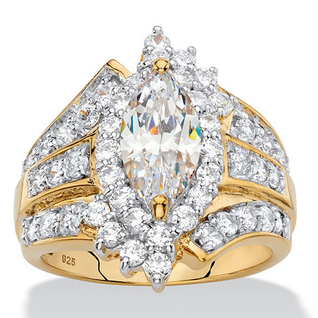 Marquise-Cut Cubic Zirconia Multi-Row Halo Ring 3.42 TCW in 18k Yellow Gold over Sterling Silver at PalmBeach Jewelry
