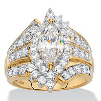 Marquise-Cut Cubic Zirconia Multi-Row Halo Ring 3.42 TCW in 18k Yellow Gold over Sterling Silver