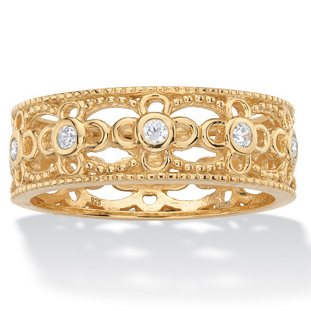 Round Cubic Zirconia Filigree Eternity Ring .25 TCW in 18k Yellow Gold over Sterling Silver at PalmBeach Jewelry