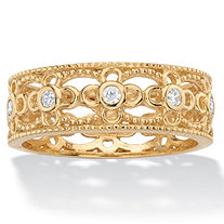SETA JEWELRY Round Cubic Zirconia Filigree Eternity Ring .25 TCW in 18k Yellow Gold over Sterling Silver