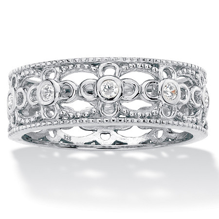 Round Cubic Zirconia Filigree Eternity Ring .25 TCW in Sterling Silver at PalmBeach Jewelry