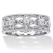 Round Cubic Zirconia Filigree Eternity Ring .25 TCW in Sterling Silver