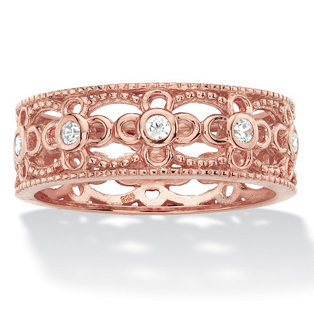 Round Cubic Zirconia Filigree Eternity Ring .25 TCW in Rose Gold-Plated Sterling Silver at PalmBeach Jewelry