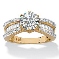 Round and Baguette-Cut Cubic Zirconia Engagement Ring 2.88 TCW in 18k Yellow Gold over Sterling Silver