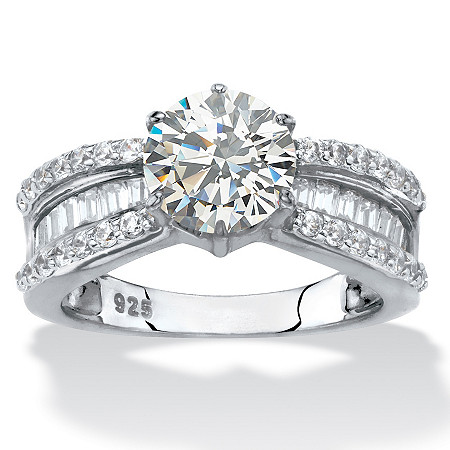 Round and Baguette-Cut Cubic Zirconia Engagement Ring 2.88 TCW in Platinum over Sterling Silver at PalmBeach Jewelry