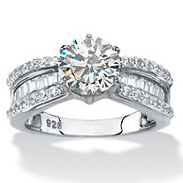 Round and Baguette-Cut Cubic Zirconia Engagement Ring 2.88 TCW in Platinum over Sterling Silver
