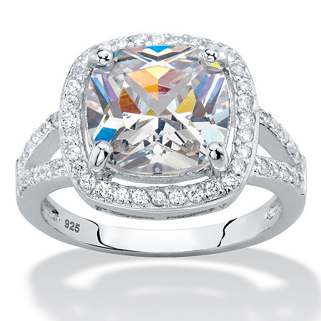 Cushion-Cut Cubic Zirconia Halo Split-Shank Engagement Ring 3 TCW in Sterling Silver at PalmBeach Jewelry
