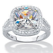 Cushion-Cut Cubic Zirconia Halo Split-Shank Engagement Ring 3 TCW in Sterling Silver