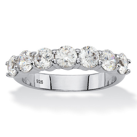 Round Cubic Anniversary Zirconia 1.75 TCW in Platinum over Sterling Silver at PalmBeach Jewelry