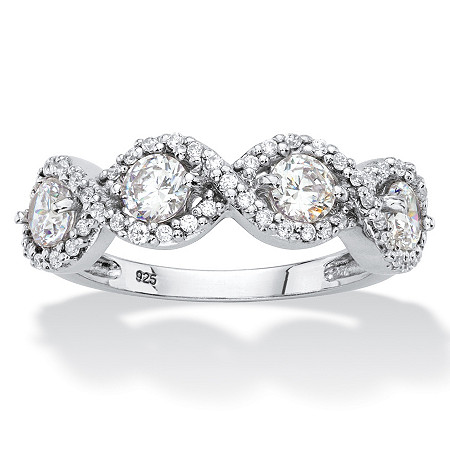 Round Cubic Zirconia Halo Crossover Ring 1.27 TCW in Sterling Silver at PalmBeach Jewelry