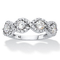 Round Cubic Zirconia Halo Crossover Ring 1.27 TCW in Sterling Silver