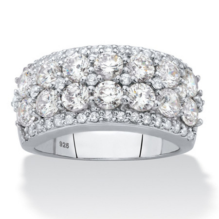 Round Multi-Row Cubic Zirconia Cluster Ring 2.53 TCW in Sterling Silver at PalmBeach Jewelry