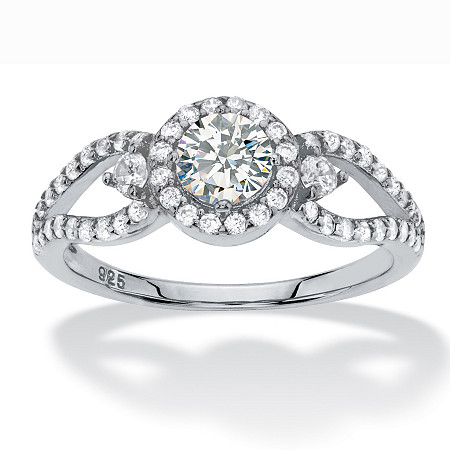 Round Halo Cubic Zirconia Engagement Ring 1.04 TCW Openwork Accents in Sterling Silver at PalmBeach Jewelry