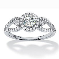 Round Halo Cubic Zirconia Engagement Ring 1.04 TCW Openwork Accents in Sterling Silver