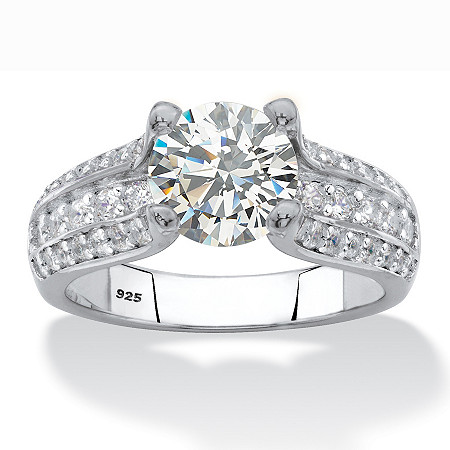 Round Cubic Zirconia Multi-Row Engagement Ring 2.69 TCW in Sterling Silver at PalmBeach Jewelry