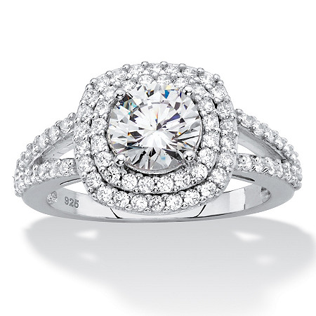 Round Cubic Zirconia Double Halo Engagement Ring 2.17 TCW in Platinum over Sterling Silver at PalmBeach Jewelry