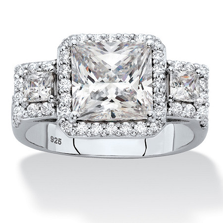 Princess-Cut Cubic Zirconia Triple Halo Engagement Ring 2.94 TCW in Platinum over Sterling Silver at PalmBeach Jewelry