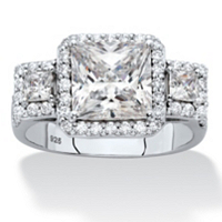 Princess-Cut Cubic Zirconia Triple Halo Engagement Ring ONLY $36.95