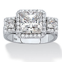 Princess-Cut Cubic Zirconia Triple Halo Engagement Ring 2.94 TCW in Platinum over Sterling Silver