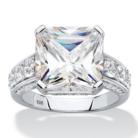 Princess-Cut Cubic Zirconia Engagement Ring 4.83 TCW in Platinum over Sterling Silver at PalmBeach Jewelry