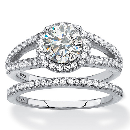 Round Cubic Zirconia Halo 2-Piece Wedding Ring Set 2.16 TCW in Platinum over Sterling Silver at PalmBeach Jewelry