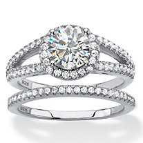Round Cubic Zirconia Halo 2-Piece Wedding Ring Set 2.16 TCW in Platinum over Sterling Silver