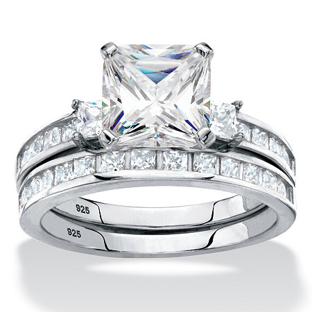 Princess-Cut Cubic Zirconia Halo 2-Piece Wedding Ring Set 3.59 TCW in Platinum over Sterling Silver at PalmBeach Jewelry