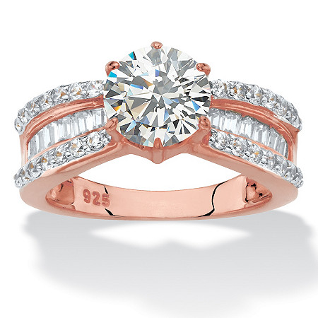 Round and Baguette-Cut Cubic Zirconia Engagement Ring 2.88 TCW in 18k Rose Gold-Plated Sterling Silver at PalmBeach Jewelry